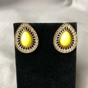 Neon yellow tear drop stud earrings